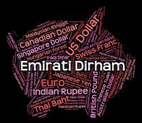 Emirati Dirham Represents United Arab Emirates And Currencies Stock Illustration