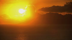 Sunset time lapse over the mountain paradise of a luxury vacation resort on Bora Stock Footage