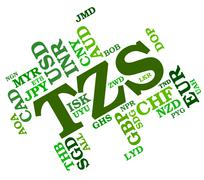 Tzs Currency Means Tanzania Shilling And Banknote Stock Illustration
