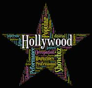 Hollywood Star Indicates Silver Screen And Entertainment Stock Illustration