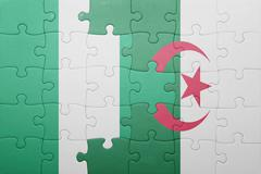 Puzzle with the national flag of algeria and nigeria Kuvituskuvat