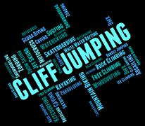 Cliff Jumping Indicates Text Words And Rock Stock Illustration