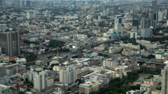 4K: Day to night time lapse, Bangkok city aerial view, Thailand Stock Footage