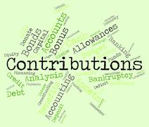 Contributions Word Indicates Give Volunteers And Volunteer Stock Illustration