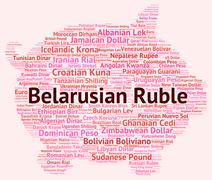 Belarusian Ruble Shows Worldwide Trading And Byr Stock Illustration