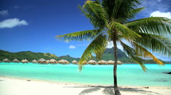 Beach palm trees Mt Otemanu Overwater luxury Bungalows in tropical Aquamarine Stock Footage