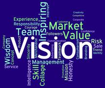 Vision Word Shows Aim Objectives And Aspirations Stock Illustration