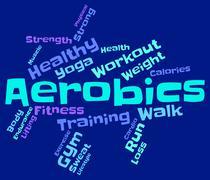 Aerobics Words Indicates Physical Activity And Cardio Stock Illustration