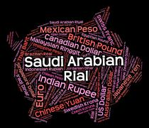 Saudi Arabian Riyal Means Forex Trading And Foreign Stock Illustration