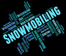 Snowmobiling Word Represents Winter Sports And Snowcross Piirros