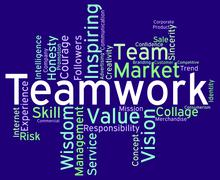 Teamwork Words Means Teams Unit And Unity Stock Illustration