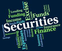 Securities Word Indicates Financial Obligation And Bond Stock Illustration