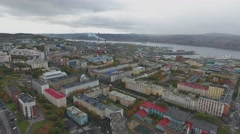 Autumn view of the port city Stock Footage