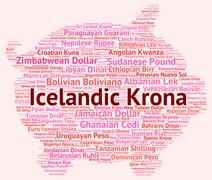 Icelandic Krona Means Exchange Rate And Broker Stock Illustration