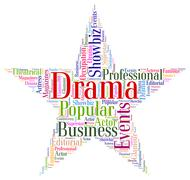 Drama Star Shows Production Wordcloud And Play Stock Illustration