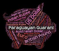Paraguayan Guarani Shows Currency Exchange And Banknote Stock Illustration