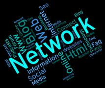 Network Word Shows Global Communications And Connection Stock Illustration