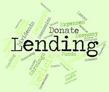 Lending Word Indicates Bank Loan And Advance Stock Illustration