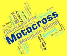 Motocross Words Indicates Motor Extreme And Motorbikes Stock Illustration