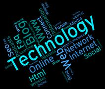 Technology Word Shows Data Wordcloud And Digital Stock Illustration