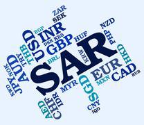 Sar Currency Shows Saudi Arabian Riyals And Currencies Stock Illustration