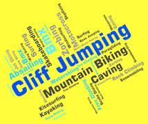 Cliff Jumping Means Words Word And Cliffs Stock Illustration