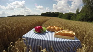 Bread and vegetables on the table in wheat field in summer, time lapse 4K Stock Footage