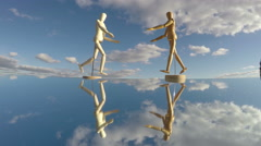 Two human artist models on mirror, time lapse 4K Stock Footage
