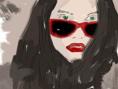 Woman closeup portrait in eyewear, fashion glasses. Beautiful young lady wear Piirros