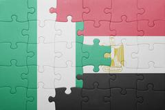 Puzzle with the national flag of nigeria and egypt. Kuvituskuvat