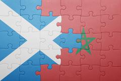 Puzzle with the national flag of morocco and scotland . Stock Photos