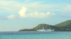 Bora Bora, French Polynesia - June 2016: Cruise ship sailing from Bora Bora Stock Footage