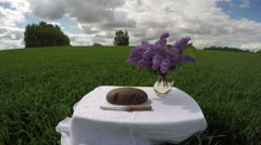 Bread and knife on table in wheat field in summer, time lapse 4K Stock Footage