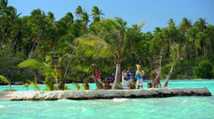 Bora Bora, French Polynesia - June 2016: Polynesian wedding ceremony taking Stock Footage
