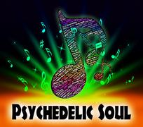 Psychedelic Soul Means Rhythm And Blues And Atlantic Stock Illustration