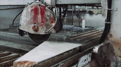 Saw machine cut marble stone Stock Footage