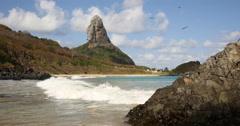 Paradise tropical beach. Idyllic Shore Beach. Fernando de Noronha, Brazil. Stock Footage