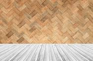 Wood terrace and Weave bamboo wall texture Stock Photos