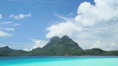 Time lapse view of aquamarine lagoon Mt Otemanu mountain in tropical Tahitian Stock Footage