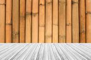 Wood terrace and Bamboo wall texture Stock Photos