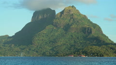 Time lapse view of Mt Otemanu mountain in tropical Tahitian vacation resort of Stock Footage