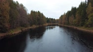 View of the autumn forest and river Stock Footage
