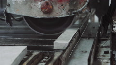 Saw machine cut marble stone , close up Stock Footage