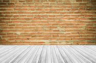 Wood terrace and Red Brick wall texture vintage style Stock Photos