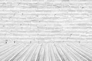 Red Brick wall texture surface with Wood terrace Stock Photos