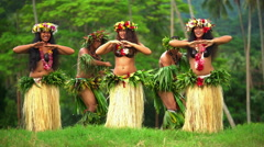 Group of beautiful young synchronized Polynesian male and female dancers Stock Footage