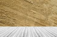Sand texture surface with Wood terrace Stock Photos
