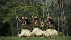 Young males with female group of Tahitian hula dancers performing outdoor Stock Footage