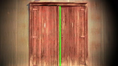 Computer generated animation of an old wooden door opening to green screen Arkistovideo