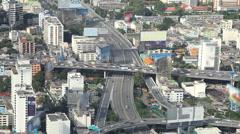 Bangkok Expressway Highway bird eye view at dusk, Thailand Stock Footage